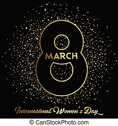Women's Day background with gold confetti