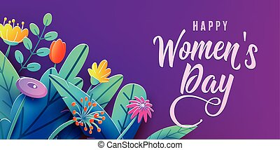 International Womens Day banner with fantasy paper cut flowers, leaves, handwritten font greeting text. Corner composition, origami design. Vector illustration