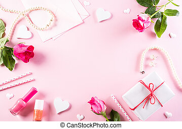 International Women's Day concept. Woman lace lingerie jewelry perfume present with pink roses on bright pink pastel background. flat lay, March 8.
