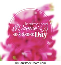 International Women's Day greeting card. Vector blurred...