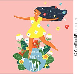 International Women's Day. Happy female and Earth globe. Design template for card, poster, banner. Vector illustration for 8 march