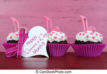 International Womens Day, March 8, cupcakes with high heel...