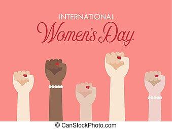 International Womens day. Women fist hands. Vector illustration poster