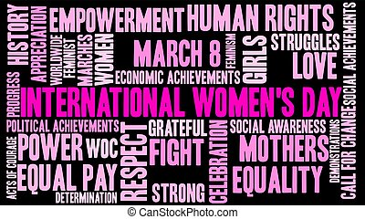 International Womens Day word cloud on a black background.