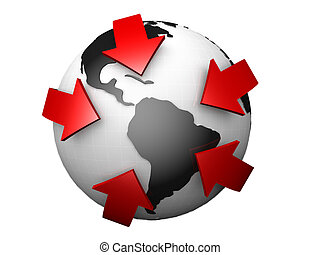 Globe surrounded by red arrows 3d illustration