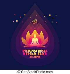 International Yoga Day. Abstract lotus and man silhouette. -...