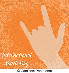 International Youth Day. 12 August. Sign of the horns. Orange grunge background