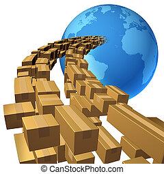 internationale, forsendelse