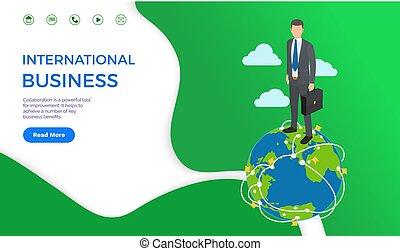 internationale, klode, mand, firma, samarbejde