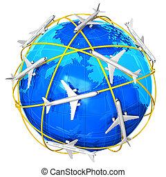 internationale, luft rejse, begreb