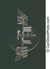 internationale ruimtepost, op, de, planeet, earth.