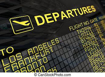 internationaler flughafen, abfahrt, brett