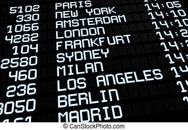 internationaler flughafen, brett, textanzeige