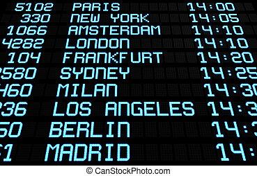 internationaler flughafen, textanzeige, brett, bestimmungsorte