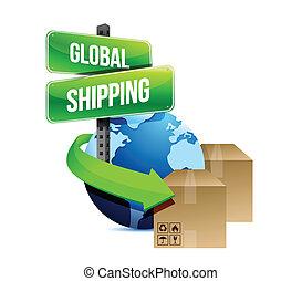 internationell, begrepp, design, skeppning, illustration