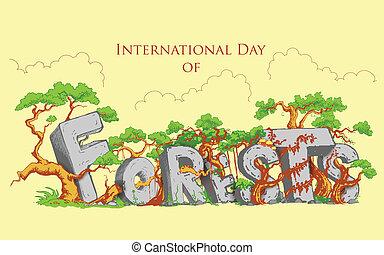 internationell, dag, av, skog