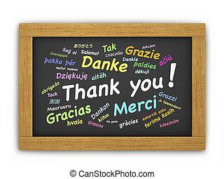 internationell, dig, tacka, chalkboard