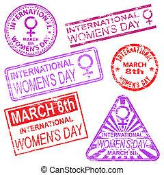 internationell, frimärken, dag, kvinnor