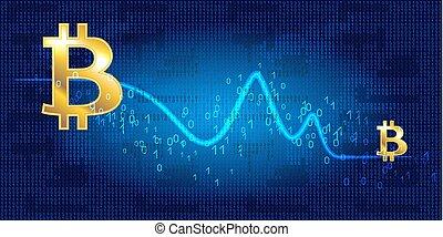 internationell, graf, falla, bitcoin, valuta