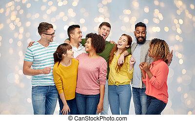 internationell, grupp, av, lycklig, skratta, folk