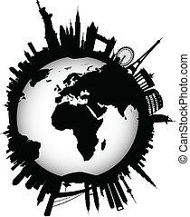 internationell, horisont, klot, värld