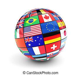 internationell, klot, flaggan, värld