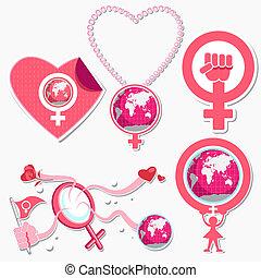 internationell, kvinna, dag, symbol, och