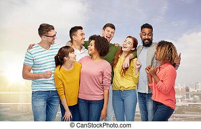 internationell, lycklig, grupp, skratta, folk
