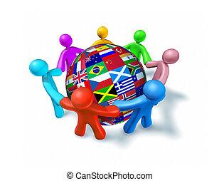 internationell, nätverk, samarbete, värld