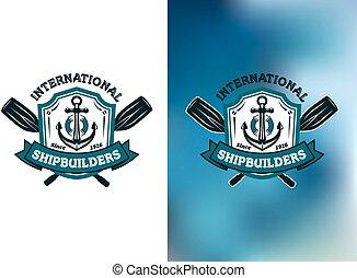internationell, shipbuilders, eller, symboler, logo