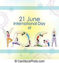 internationell, yoga, dag
