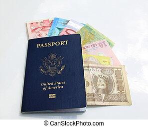 internazionale, americano, valute, passaporto