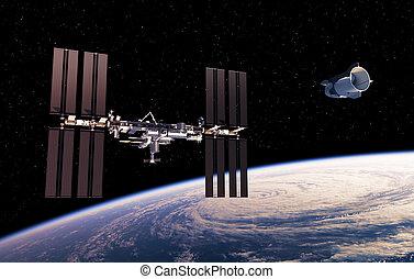 internazionale, astronave, stazione, commerciale, spazio