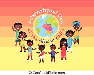internazionale, bambino, commerciale, giorno, africano