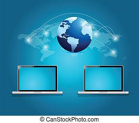 internazionale, collegamento, tecnologia