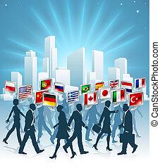 internazionale, concetto, affari