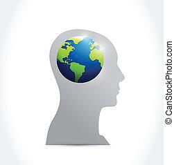 internazionale, concetto, disegno, pensare, illustrazione