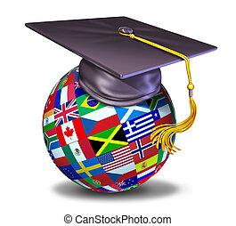 internazionale, educazione, con, berretto laurea