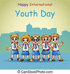 internazionale, giorno, standing, felice, gioventù, studente