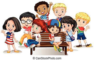 internazionale, gruppo, bambini