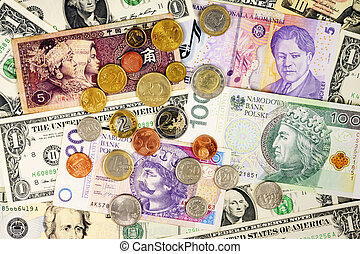 internazionale, soldi, valute, closeup, valuta