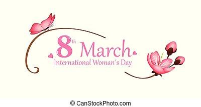 internazionale, womans, giorno, su, 8, marzo, rosa, farfalla, e, fiore ciliegia