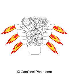 interne, forbrænding, motor