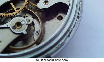 interne, haut, horloge, fin, mécanisme