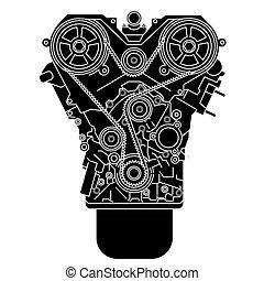 interne, vu, front., moteur, combustion