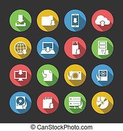 internet, ściąganie, symbolika, ikony, komplet