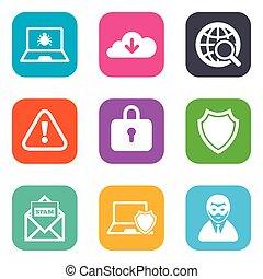 internet , ερημιά , icons., cyber , έγκλημα , signs.