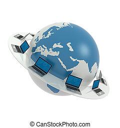 internet., глобальный, сеть