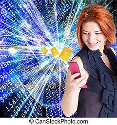 internet., 技術, 電子メール, 新しい