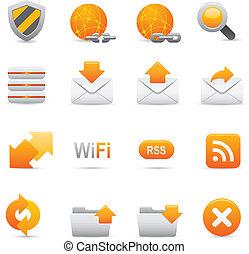  , internet, 07, sárga, ikonok